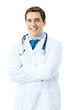 Portrait of happy smiling doctor, isolated on white