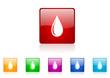 water drop vector glossy web icon set