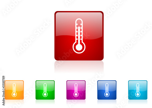 thermometer vector glossy web icon set