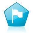 flag blue pentagon web glossy icon