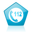 emergency call blue pentagon web glossy icon