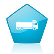 truck blue pentagon web glossy icon