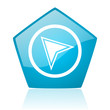 navigation blue pentagon web glossy icon
