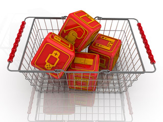 Кубики с символами бытовой техники в корзине
