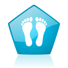 footprint blue pentagon web glossy icon