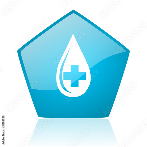 blood blue pentagon web glossy icon