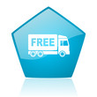 free delivery blue pentagon web glossy icon
