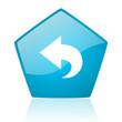 back blue pentagon web glossy icon