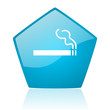smoking blue pentagon web glossy icon