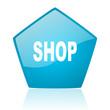 shop blue pentagon web glossy icon