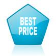 best price blue pentagon web glossy icon