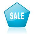 sale blue pentagon web glossy icon