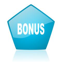 bonus blue pentagon web glossy icon