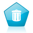 recycle blue pentagon web glossy icon