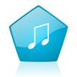 music blue pentagon web glossy icon