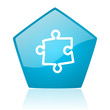 puzzle blue pentagon web glossy icon