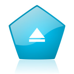 eject blue pentagon web glossy icon