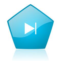 next blue pentagon web glossy icon