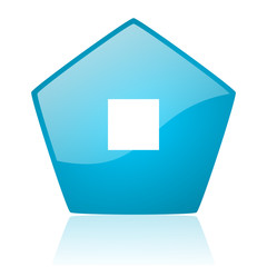 stop blue pentagon web glossy icon