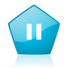 pause blue pentagon web glossy icon