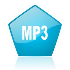 mp3 blue pentagon web glossy icon