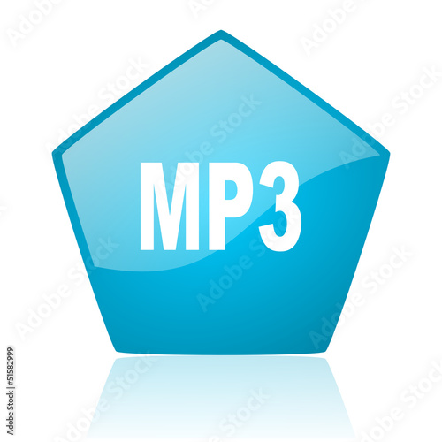 mp3 blue pentagon web glossy icon