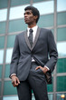 Portrait of an african american businesman standing outdoors