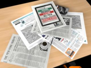 Quotidiani giornali tazza di caffè tavolo
