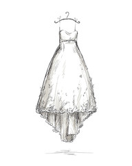 Wedding dress on a hanger, hand drawn.