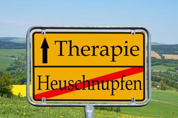 Landschaft und Schild - Heuschnupfen / Therapie