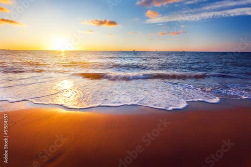 Aluminium Zonsondergang op het Strand sunset and sea