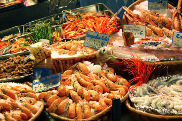 Seafood market stall in Paris, France