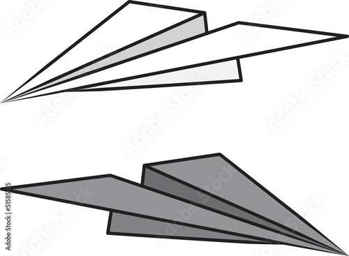 Isolated paper airplane light and dark