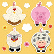 icon farm animal vector set