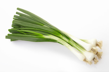 Fresh onion bunch on white, clipping path