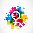 abstract colorful female gender symbol