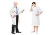 Full length portrait of a mature health specialist talking to a