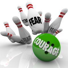 Courage Vs. Fear Bowling Ball Strike Pins Bravery