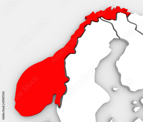 Norway Abstract 3D Map Europe Scandinavia Country