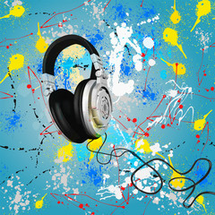 vector abstract headphones composition