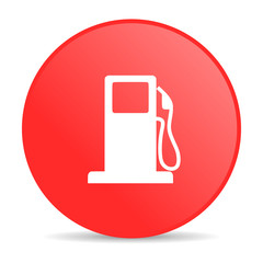 fuel red circle web glossy icon