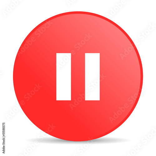 pause red circle web glossy icon