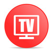 tv red circle web glossy icon
