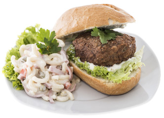 Burgers with Pasta Salad (on white)