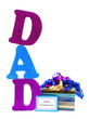 DAD letters with gift box and Happy Fathers Day tag