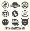 Vector Set: Retro Baseball League Champion Labels