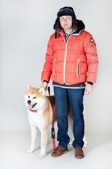 Akta-inu dog with owner