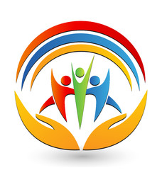 Teamwork with hands and connections logo