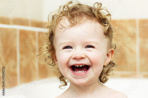 Laughing and bathing