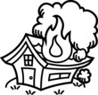 火事!燃える家 モノクロ